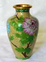 Különleges virág motívumos rekeszzománc váza