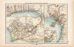 Nyugat - Afrika térkép 1904, kolónia, gyarmat, eredeti nyomat
