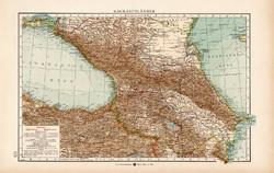 Kaukázusi országok térkép 1904, eredeti nyomat, Moritz Perles