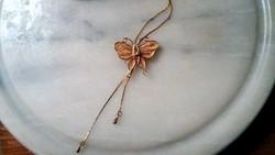 Aranyozott, finom kidolgozású pillangó nyaklánc