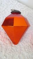 Régi üveg karácsonyfadísz rubin forma, nagy
