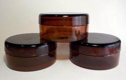 3 darab régi sötétbarna nagy lapos fedeles patika üveg tégely
