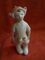 RITKA orosz porcelán figura:  kisfiú távcsővel