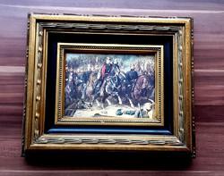 EXKLUZÍV Lovas katonák, ANTIK PORCELÁN KÉP, BAROKK ARANY KERET, LUXUS AJÁNDÉK. TÖBBFÉLE VÁLASZTÉK