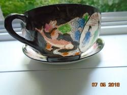 Kutani kézzel festett japán tojáshéj teás csésze alátéttel