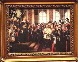 Anton von Werner 1871 festmény alapján: TÖRTÉNELMI PORCELÁN KÉP RITKASÁG,GYÖNYÖRŰ BAROKK ARANY KERET