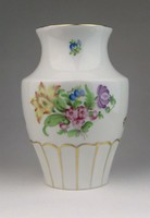 0R057 Régi Herendi virágmintás porcelán váza 15 cm
