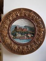 Heidelberg híres kastélya hatalmas jelzett WS&S majolika falitálon 53 cm UNESCO világörökség része