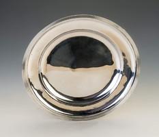 Ezüst kerek antik bécsi tányéralátét/tálca