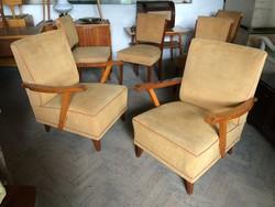Régi kárpitozott retro fakarfás karfás fotel