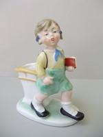 Extrém ritka régi,német iskolás kislány,kisdobos