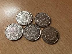 Svájci ezüst 1 frank 1958-1963 25 gramm 0,835