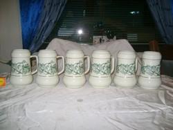 Régi Hollóházi sörös korsó - hat darab - ritka mintával