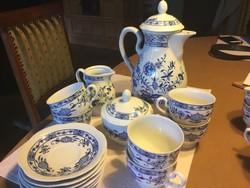 Volkstedt porcelán teáskészlet, 6 személyes, tökéletes állapotban