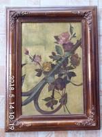 Virágos csendélet vasmacskával 49x65 cm