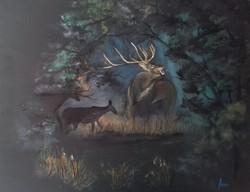 Erdei szerenád, festmény, szarvas, erdő