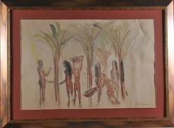 Ismeretlen művész, Alakok boltívek alatt, akvarell