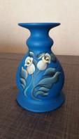 Kézzel festett kék kerámia váza
