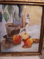 Gadányi  Asztali csendélet. Akvarell, papír, üvegezett keretben