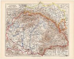 Magyarország, Galícia és Bukovina térkép 1898, lexikon melléklet, német nyelvű, eredeti