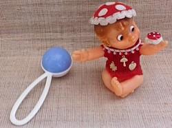 Vintage Limmer Hummelwerk jelzett sorszámozott kis méretű felhúzható gomba baba