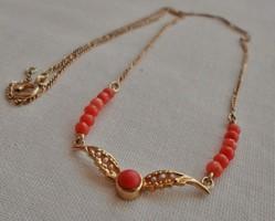 Szépséges antik korall,gyöngy arany nyakék
