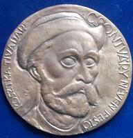 Kákonyi István: Csontváry egyoldalas bronz plakett, dombormű, relief, 134 mm