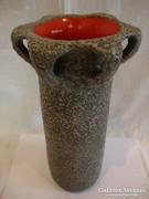 Retro iparművész kerámia váza szürke-piros