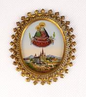 0R291 Antik aranyozott Mariazell üvegikon 1894