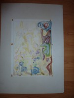 Cs. Németh Miklós: Lányok virágok közt, akvarell jelzett 1987