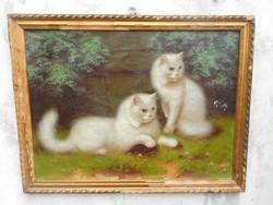 """Bolerádszky Benő """"Cicák.""""Olaj vászon festmény."""