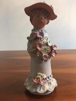 ASZK Antalfiné Szente Katalin kerámia szobor, 23cm, kalapos hölgy