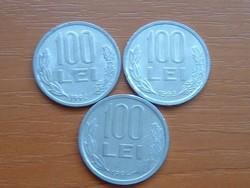 ROMÁNIA 100 LEI 1992,1993,1994 3 DB