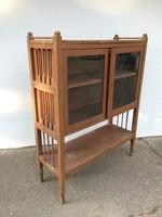 Vintage kis tálaló szekrény régi fenyő vitrines szekrény könyvszekrény