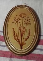 Mázas festett kerámia kép ovális