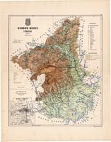 Borsod megye térkép 1887 (2), vármegye, atlasz, Kogutowicz Manó, 44 x 56 cm, Gönczy Pál, Miskolc