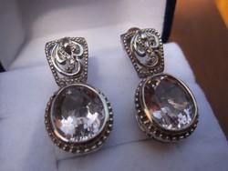 Mesterjegyes ezüst fülbevaló pár hatalmas ametiszt kővel - 925