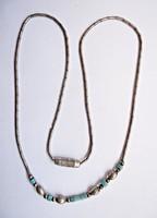 36,5 cm. hosszú türkiz köves sterling ezüst nyaklánc