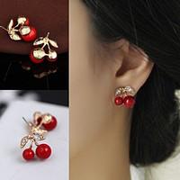 Piros cseresznye aranyozott fülbevaló