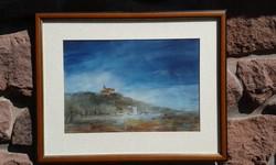 Hankó Béla: Balaton, Tihany, Apátság ősszel, akvarell, tájkép, festmény