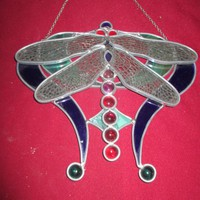 Csodás Tiffany falikép  szitakötő 24x25 cm Különleges darab