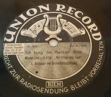 """UNION RECORD 10"""" 78rpm sellacklemez német gyártmányú 1947.3.14. No:1808,1809,"""