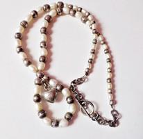 Gyönyörű 925-ös ezüst és gyöngy nyakék T kapoccsal
