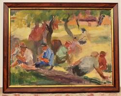 Juhász Erika (1926-2018) Ebédidő c. olaj/vászon festménye 90x70cm EREDETI GARANCIÁVAL !!!