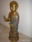 Aranyozott bronz rekeszes eljárással buddha szobor + engóbe festéssel is