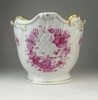 0Q387 Lila indiai kosaras Herendi porcelán kaspó