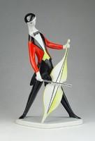 0P050 Zsolnay art deco nagybőgős porcelán figura