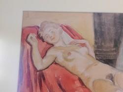 Büky Béla::Fekvő női akt (akvarell)