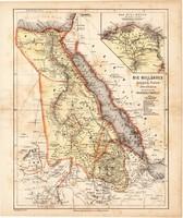 Nílus vidéke térkép 1871, lexikon melléklet, német nyelvű, eredeti, Egyiptom, Núbia, Afrika