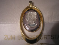 Kámea hematit medál,gold filled arany bevonattal